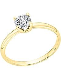 1/2ctw. Rund Diamant Solitaire Verlobungsring in 14K Gelb Gold
