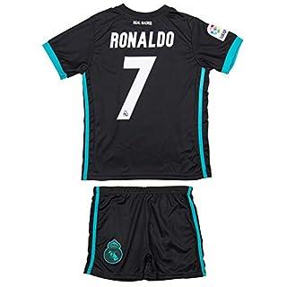 ATB Real Madrid #7 Ronaldo 2017/18 Schwartz Kinder Trikot und Hose mit Socken (152)