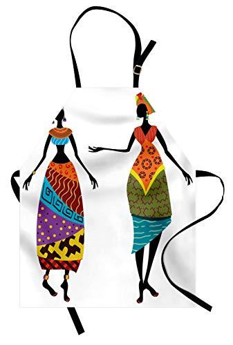 ABAKUHAUS Afrikanische Frau Kochschürze, Stammes-Damen in traditionellen Kostüm Silhouetten Ethnicity Vintage Display, Farbfest Höhenverstellbar Waschbar Klarer Digitaldruck, Mehrfarbig