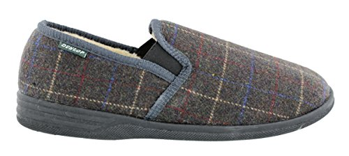 The Little Shop of Shoes Amauri, Pantofole uomo Grigio Grey Check 44 Charcoal - Grey