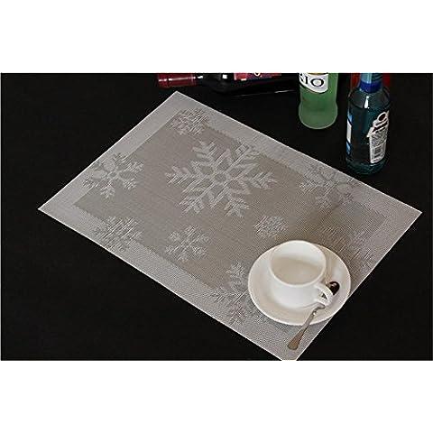 TOYM- Set di 4 in plastica Isolamento Non slip-Mat protezione europeo del fiocco di neve di Natale Jacquard PVC ambientale 30cm * 45cm ( colore : Bright Silver Gray )