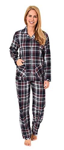 Damen Flanell Pyjama Schlafanzug kariert -- auch in Übergrössen - 281 201 95 247, Farbe:dunkelgrau, Größe2:36/38