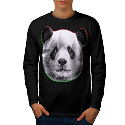 cracked-wood-panda-timber-style-men-new-black-l-long-sleeve-t-shirt-wellcoda