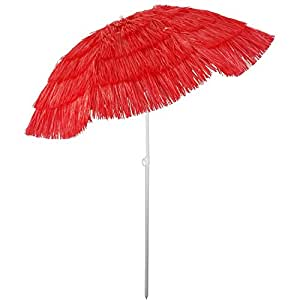 Sonnenschirm Hawaii-Look Ø160x180cm mit Knickgelenk Rot Strandschirm Gartenschirm Balkonschirm Bastschirm Sonnenschutz