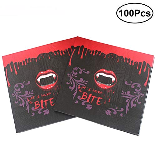 BESTOYARD Gedruckte Servietten Einweg Tissue Blutige Rote Lippen Zähne Grafiken Abendessen Servietten Halloween Thema Party Supplies 100 stücke