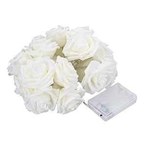 WINOMO Lucine LED String luci Rose Fiore 20 LED a batteria bianco caldo