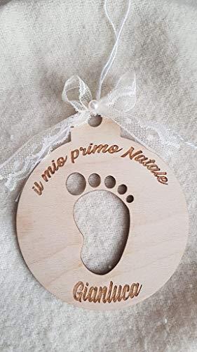 Palla albero primo natale in legno personalizzabile con il nome