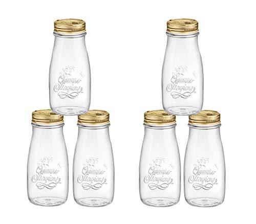 Bormioli Vintage Einmachgläser im Milchflaschen Design 'Quattro Stagioni' 6 teilig | Füllmenge 40 cl | Durchmesser 56 mm | Gesamthöhe 15,5 cm | Perfekt zum Servieren von Smoothies Vintage-kompott