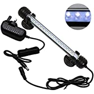 Mingdak® LED Aquarium Light Kit For Fish Tank,Underwater Submersible Crystal Glass Lights Suitable for Saltwater and Freshwater,18 LEDS,8-Inch,Lighting Color White