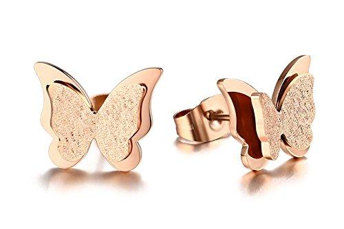 Vnox Frauen Mädchen Edelstahl 3D zwei Ton Schmetterlings Bolzen Ohrring Matt Ende Rosen Gold