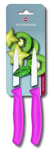 Victorinox 67636L115B Gemüsemesser Set SwissClassic, Wellenschliff, 2 Stück auf Blister, Rosa (Pink)