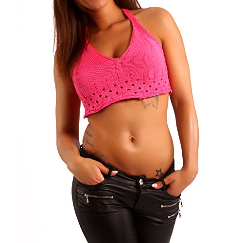 Damen Crop Top Neckholder Bustier Häkeloberteil Pink Model2