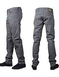 Peviani chinos Mens droit slim g pour jeans, hip hop rock star pants gris