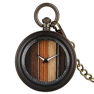 Attraktive Bambus-Quarz-Armbanduhr für Damen, legierte Taschenuhren mit rauer Kette für Damen, analoge Bambus-Armbanduhr mit Quarz-Anhänger, Holz-Taschenuhr mit unterschiedlichem Muster