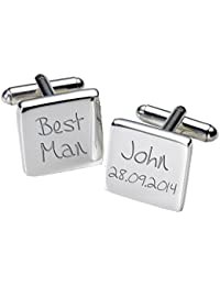 Select Gifts Masonic Tyler Cufflinks Gold Square Engraved Personalised Box