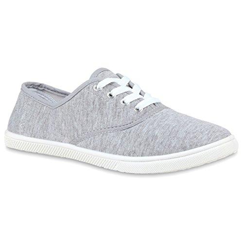 Damen Sneakers Low Basic Schuhe Freizeit Turnschuhe Schnürer Grau