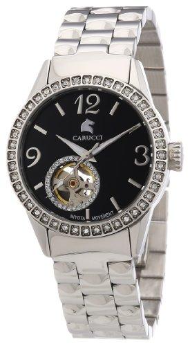Carucci Watches ALESSANDRIA CA2197SL-BK - Reloj analógico automático para mujer, correa de acero inoxidable