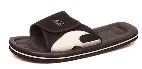 Mens Flip Flop Mule Surfer Beach Sandals (10 UK, BLACK/GREY)