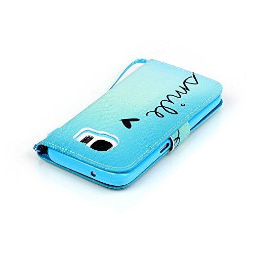 Nancen Apple iPhone 7 / 8 hülle, Flip Case Wallet Cover with Stand Function, Folio Bookstyle Handytasche Soft Silikon Bunte Muster Lederhülle Tasche PU Leder Slim Backcover Shell Handyhülle. Smile