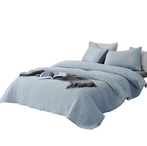 DAWNDIOR Super weiche Quilt-Bettwäsche-Set, King-Size-Doppelbett, 2 Kissenbezüge und 1 Leichter, gesteppter Schmusetuch mit einfarbiger Farbe Twin blau - Full Twin Loft
