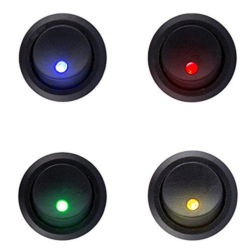 Preisvergleich Produktbild HOTSYSTEM 12V Auto KFZ Runder Schalter Wippschalter Ein-Ausschalter mit LED Anzeige Wechsel Switch Kippenschalter (1 Rot+1 Grün+1 Gelb+1 Blau)