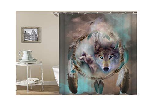AieniD Cortinas De Ducha Antimoho Originales Atrapasueños Y Zorro Marrón Cortina De Ducha Estanca Size:165X180CM