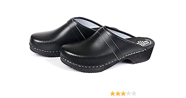 Schwedenclogs aus Leder in schwarz mit geformter Holzsohle, lieferbar in den Schuhgrößen 39-48 (46)