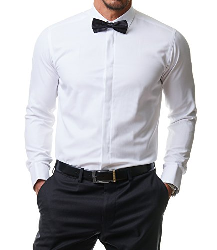 Herren Hemd Smoking Anzug Klassik Business Langarm Fliege Manschettenknöpfe Bügelleicht Hochzeit Premium Slim Fit Shirt PR6615, Farbe:Weiß, Größe:44 / XL