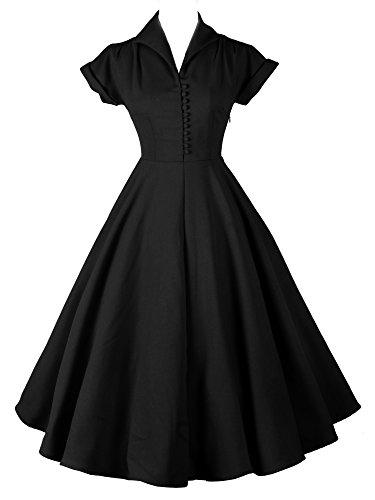 iLover rockabilly cru 40s 50s 60s évasées bal soirée dansante robe plissée Black