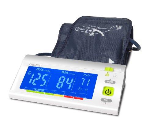 Homedics BPA-3000-EU Misuratore di Pressione da Braccio, Misura Ipertensione, Ipotensione e Battito, Indicatore di Battito Irregolare (Aritmia), 60 Memorie x 2 Utenti, Display Retroilluminato