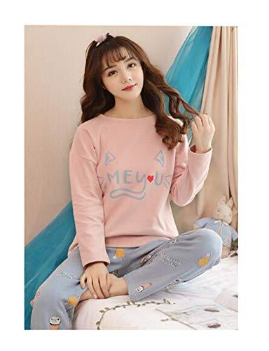 Newest Pyjamas Big Size Women Feminino Pajamas Set Long-Sleeve Pajamas Spring and Autumn Female Cotton Sleepwear Vestidos HSY1939 XL