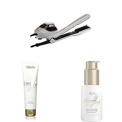 L'Oréal - Pack Steampod 2.0 - fer à lisser vapeur + Sérum 50ml + Lait de lissage cheveux fins 150ml