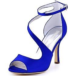 ElegantPark HP1565 mujer Peep Toe sandalias boda tacón de aguja correa de tobillo satén de novia Azul