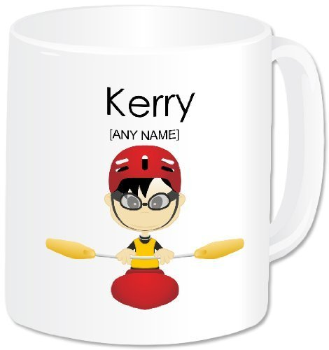 Personalised Gift - Kayaking Mug (A GoPersonalised Design) - Any Name / Message. Water Sports Activities Kayak Canoe Canoeing Themed Design (Oriental Male) (White Handle & Rim)