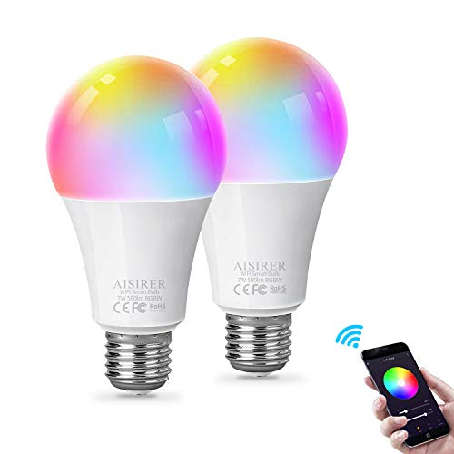 Bombilla Inteligente Bombilla WiFi LED RGBW Multicolor Smart Bulb Compatible con Amazon Alexa Echo Google home E27 7W No se requiere hub Regulable 580LM AISIRER (paquete de 2)