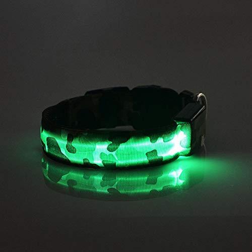 Moosungeek LED Haustier Hundehalsband, Kostüm Schön Lichter Blitz, Nacht Shinning Im Dunkeln Sicherheitshalsband (GRÜN)