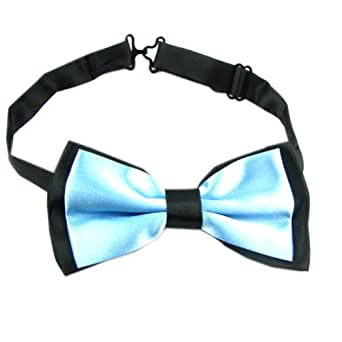 "Enwis Mens Bowtie Adjustable Double Color Aqua Black 4.9""In Width 2.4"" In Height"