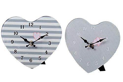 Boltze Wanduhren Tischuhren Set 17 cm grau gepunktet und gestreift mit Herz aus Glas