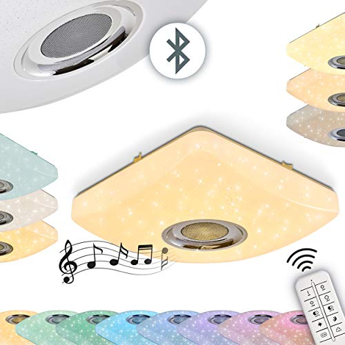 Dimmbare LED Deckenleuchte Lovisa mit Lautsprecher aus Metall/Kunststoff weiß mit Sternenhimmel-Optik, RGB Farbwechsler Zimmerlampe mit Fernbedienung für Wohnzimmer, Schlafzimmer