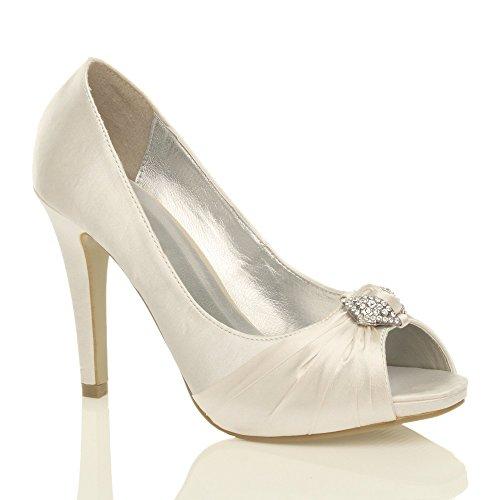 Damen Hoher Absatz Abschlussball Abend Hochzeit Braut Peep Toe Plateauschuhe Sandalen Größe Gebrochen Weißen
