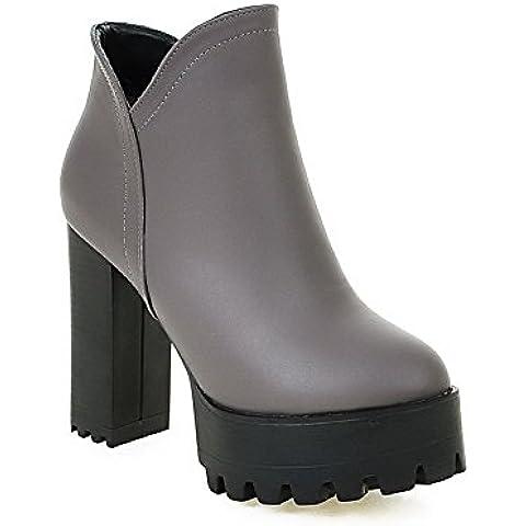VogueZone009 Donna Punta Tonda Puro Alla Caviglia Tacco Alto Stivali con Metallo