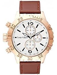 Reloj hombre Louis Villiers reloj 48 mm de acero blanco y pulsera marrón piel lv1030