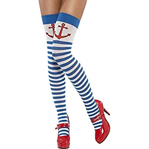 Smiffy's Opaque Hold-Ups Striped with Anchor Print - Blue and White
