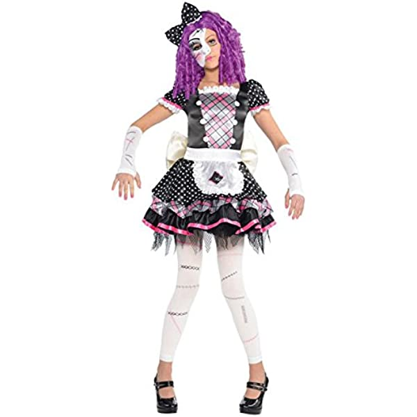 GIRLS BROKEN RAG DOLL COSTUME SCARY ZOMBIE CHILDS HALLOWEEN FANCY DRESS KIDS
