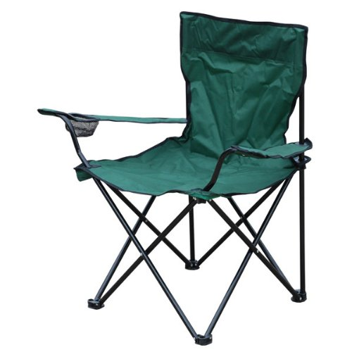Milestone 1-Seater Folding Fishing/Camping Chair with Cup Holder and Carry Bag Color May Vary