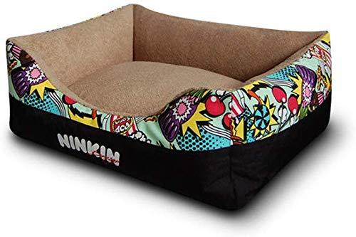 WOWOGA Haustierbett Hundebett,Premium-Plüsch-Hundebett, braunes, superweiches,kurzes Plüsch- und Segeltuchbett, waschbar, extrem weich und komfortabel - der ultimative kleine und mittlere Haust