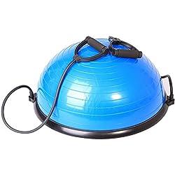 SportPlus Pelota de Pilates – Media Pelota Fitness – Tabla de Equilibrio con Cuerdas de Tensión – Puede Usarse en Ambos Lados – 62 Cm – Máx. Peso de Usuario 120 Kg