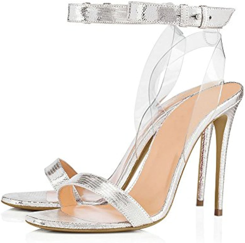 YMFIE Verano talón transparente cruz lazos Toe Toe sandalias de tacón alto señoras parte bodas high heels,38 UE,un -