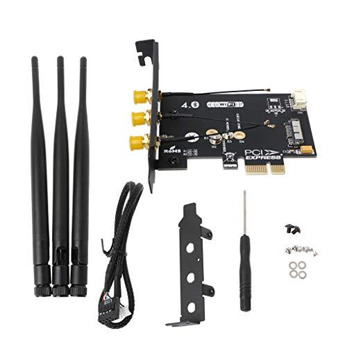 NNGUBIU WiFi + Bluetooth 4.0 Wireless Karte zu Mini PCI-E 1 X Adapter für PC/Hackintosh (Yosemite Wifi-adapter)