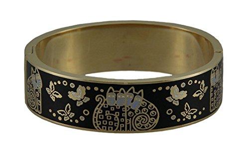 laurel-burch-indigo-gatti-colorati-cloisonne-braccialetto-nero